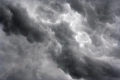 Masses of dark clouds. Shot of the dark ominous clouds - raiyn clouds Stock Photo