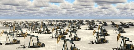 Masses of oil pumps in a landscape. Computer generated 3D illustration with masses of oil pumps in a landscape Royalty Free Stock Photography