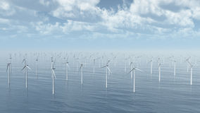 Masses of wind turbines. Computer generated 3D illustration with masses of wind turbines Stock Photo