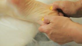 Masseur девушки делая генерала, терапевтический массаж тела массаж рук и ног видеоматериал