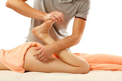 Masseur makes anticellulite massage young woman isolated on whit Royalty Free Stock Photography