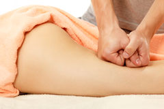 Masseur makes anticellulite massage young woman isolated on whit Stock Photography