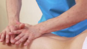 Diagnosis before a massage stock footage