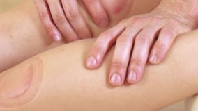 Foots massage girl stock video footage