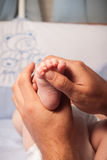 Masseur massaging little baby's foot Stock Images