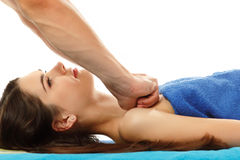 Masseur massaging young woman young  Stock Photography