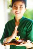 Masseuse holding spa ingredients Royalty Free Stock Photography
