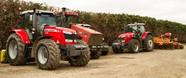 Massey Ferguson 7618 and 8690 parked up case Royalty Free Stock Photo