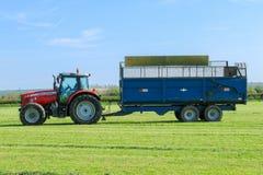 Massey Ferguson tractor pulling a trailer in grass field Stock Photo