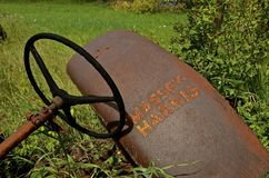 Massey Harris tractor fender and steering wheel Royalty Free Stock Images