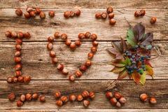 Massez l'automne d'amour d'I sur la configuration en bois d'appartement Photographie stock