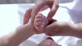 Massez le pied, mains des bandes de frottement de thérapeute la petite jambe du plan rapproché de bébé dans le mouvement lent banque de vidéos