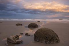 Massi al tramonto, Nuova Zelanda di Moeraki immagine stock libera da diritti
