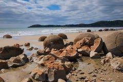 Massi di Moeraki sulla spiaggia fotografia stock