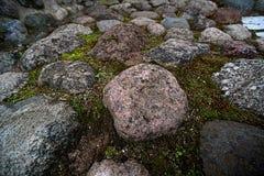 Massi e muschio del granito fotografia stock