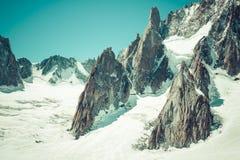 Massiccio de il Monte Bianco sul confine della Francia e dell'Italia Nella f Fotografia Stock Libera da Diritti