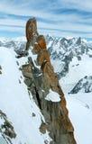 Massiccio della montagna di Mont Blanc (vista dal supporto di Aiguille du Midi, F Fotografia Stock