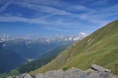 Massiccio di Mont Blanc, alpi italiane, la valle d'Aosta. Immagini Stock Libere da Diritti