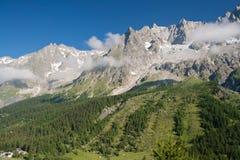 Massiccio di Mont Blanc dal furetto Immagine Stock