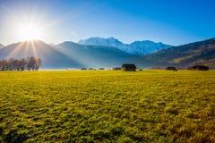 Massiccio di Mont Blanc, la Francia ed alba II Immagine Stock Libera da Diritti