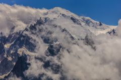 Massiccio di Mont Blanc nelle alpi francesi Fotografie Stock Libere da Diritti