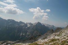 Massief van bergen in Jezerce, Albanië Royalty-vrije Stock Afbeelding