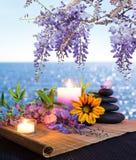 Massieren Sie Steine mit Kerzen, Gänseblümchen und Glyzinien Stockbilder