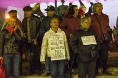 Massieve anti-corruptieprotesten in Boekarest Royalty-vrije Stock Foto's