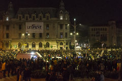 Massieve anti-corruptieprotesten in Boekarest Royalty-vrije Stock Fotografie