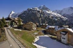Massieve Jungfrau en Eiger-het noordenmuur van Murren, Zwitserland Royalty-vrije Stock Afbeeldingen