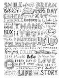 Massieve motieven het van letters voorzien inzameling Samenstelling met kalligrafieuitdrukkingen, slogans Stock Afbeelding