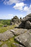 Massif de roche de chien, Dartmoor, Devon photographie stock