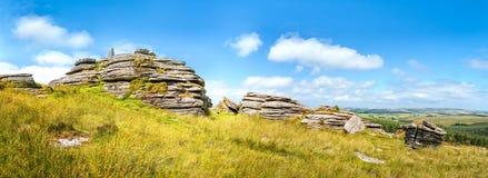 Massif de roche de Bellever en Devon, Angleterre Photos stock