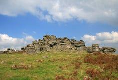 Massif de roche de chien, Dartmoor image libre de droits