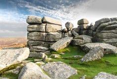 Massif de roche de Combestone, Dartmoor Image stock
