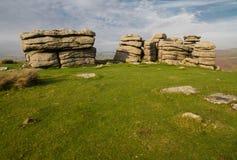 Massif de roche de Combestone, Dartmoor Photos stock