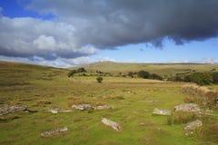 Massif de roche de renarde, et secteur de merrivale de parc national Devon de dartmoor Photos stock