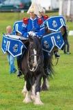 Massif de roche et Oden les chevaux de tambour (chevaux de Shire) Photo stock