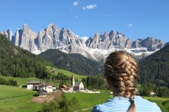 Massif odle in Italy Dolomites stock photo