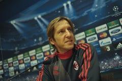 新闻招待会Massimo Ambrosini米兰足球俱乐部球员 库存图片