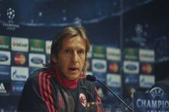 新闻招待会Massimo Ambrosini米兰足球俱乐部球员 免版税库存图片