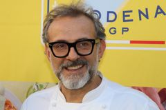 Modena, Italy, December 2018, chef Massimo Bottura in a public event in Piazza Roma, Modena, Italy royalty free stock photo