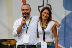Massimo Bugani and Carla Ruocco for a public event of Movimento 5 Stelle, italian  political party Royalty Free Stock Images