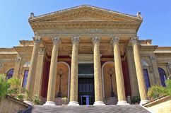 Massimo theater. Pronaos, Palermo, Sicily. The biggest opera theater in Italy Royalty Free Stock Photo