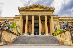 Massimo theater entrance in Palermo, Sicily, Italy stock photo