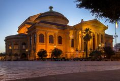 Massimo theater Palermo at twilight. Massimo theater Palermo, Sicily island, Italy Stock Photos