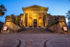 Massimo theater Palermo at twilight. Massimo theater Palermo, Sicily island, Italy Stock Photography