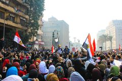 Massiv demonstration, Kairo, Egypten Arkivfoto