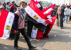 Massiv demonstration, Kairo, Egypten Royaltyfria Bilder