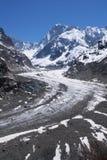 massiv mont för blancglaciär Arkivfoton